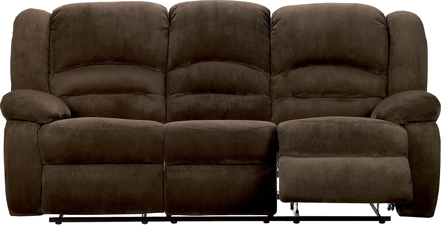 Toreno cocoa padded microsuede reclining sofa the brick for Microsuede living room furniture
