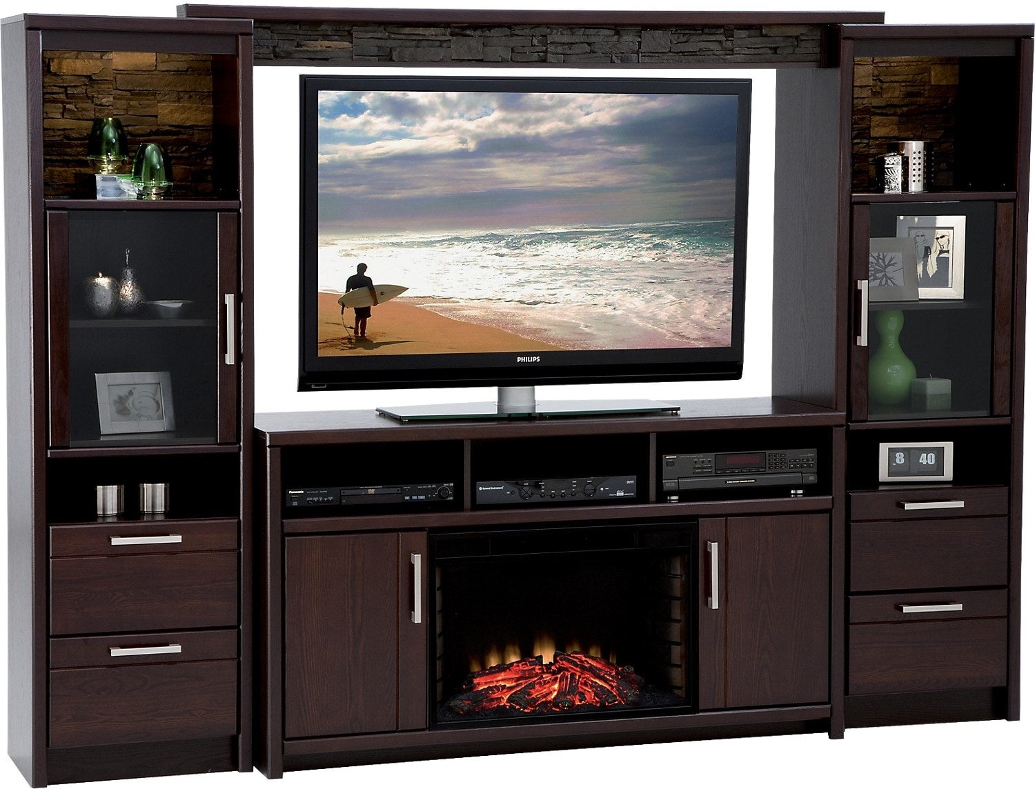 Meuble Tele Avec Foyer : Camden 5-piece Entertainment Centre And Log Firebox With 60 Tv