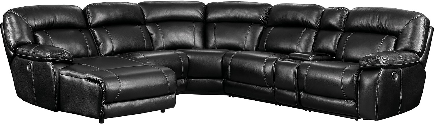 Kimba 6-Piece Leather-Look Fabric Sectional with Right-Facing Power Reclining Chair – Black