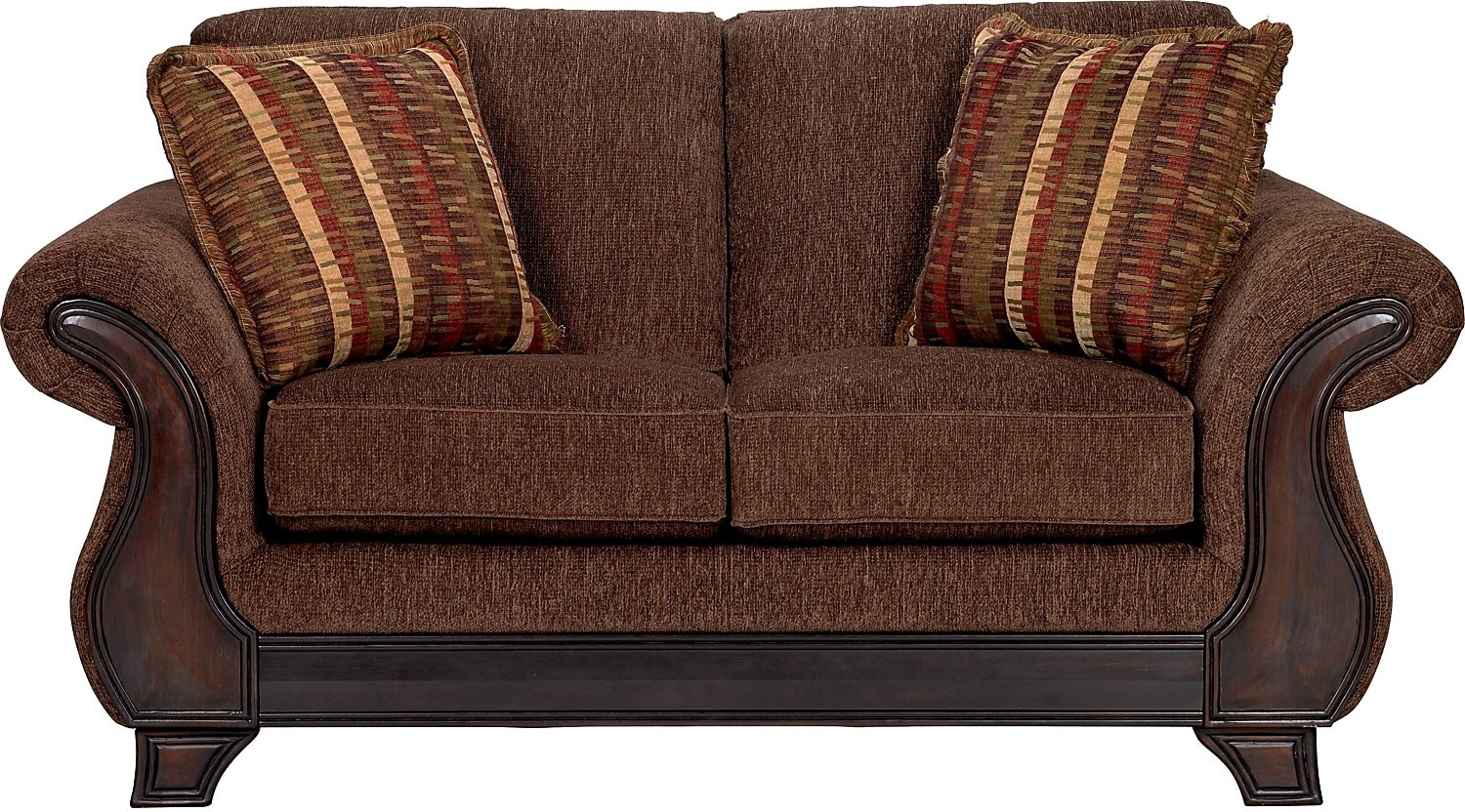 Ivan chenille queen size sofa bed brown the brick Chenille sofa and loveseat