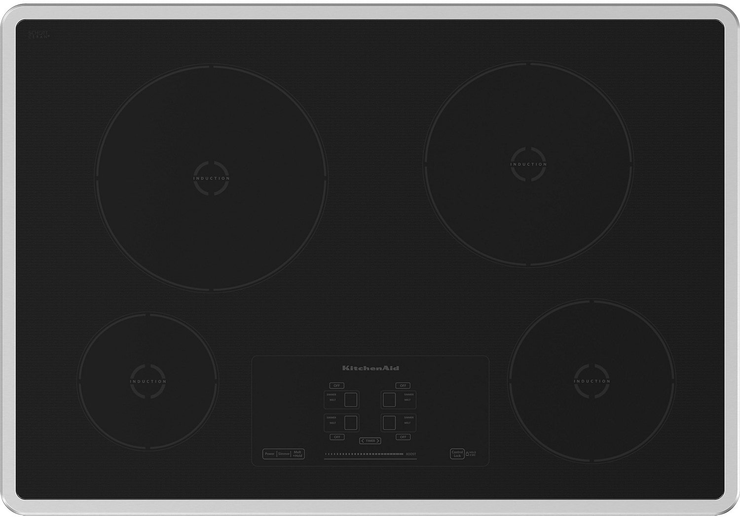 "Cooking Products - 30"" KitchenAid Architect® Series II Induction Cooktop w/ 4 Elements - KICU500XSS"