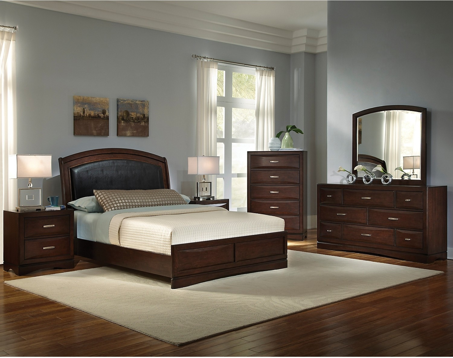 Beverly 8 piece queen bedroom set the brick for Bedroom sets with mattress included