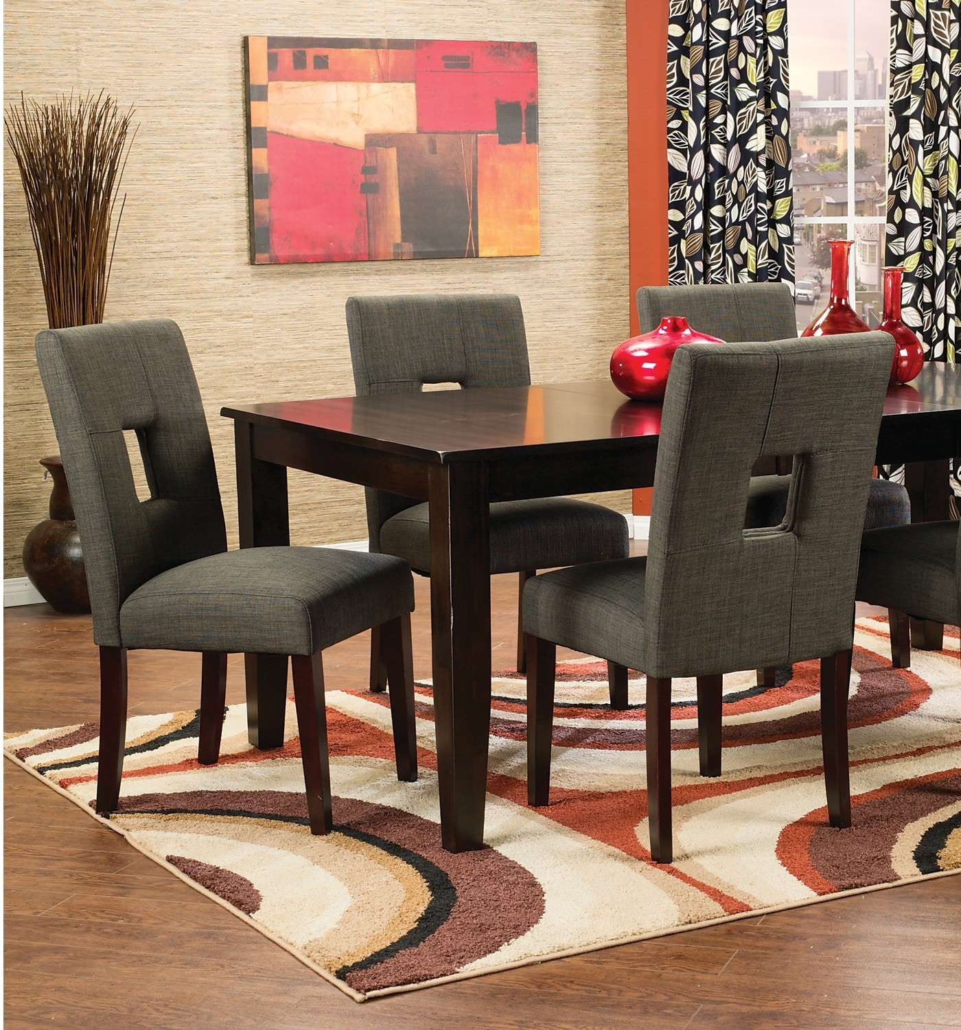 Dining Room Furniture - Dakota 5-Piece Dining Package with Grey Chairs