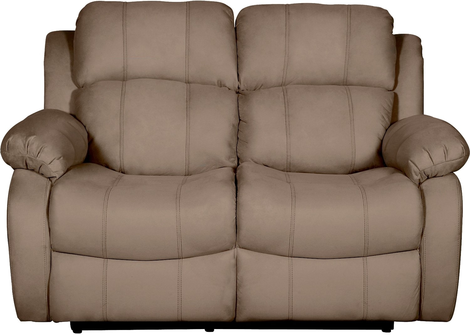 Living Room Furniture - Omega 2 Microsuede Reclining Loveseat – Mocha