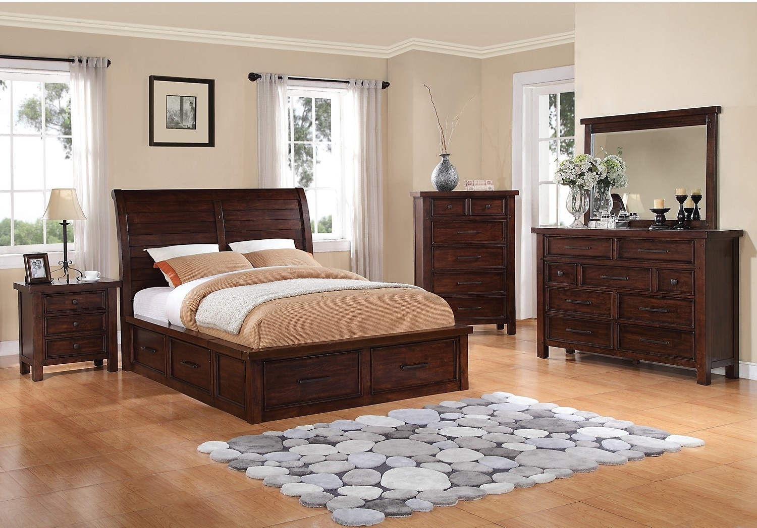 Bedroom Furniture - Sonoma 6-Piece Queen Storage Bedroom Set - Dark Brown