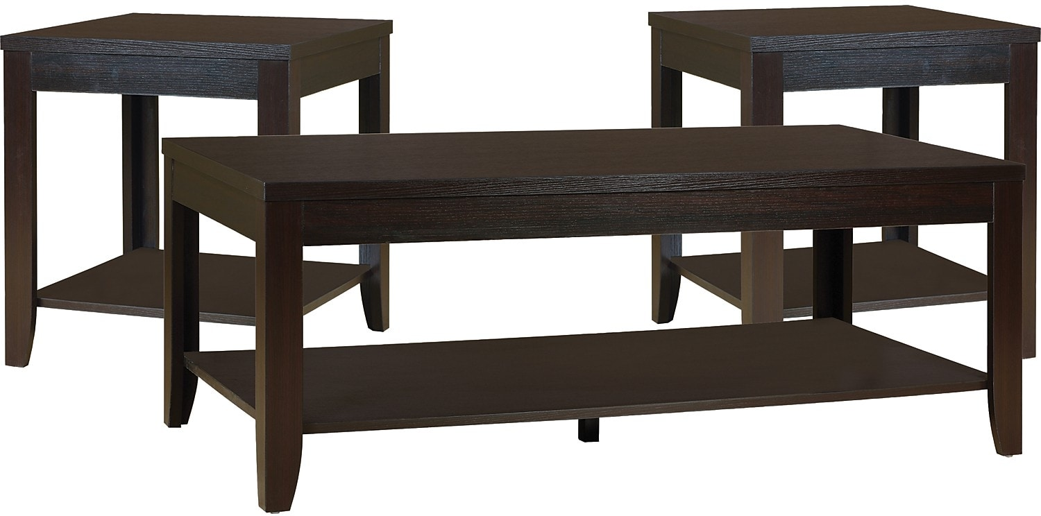 Aspen 3 piece coffee and two end tables package the brick for Coffee end tables