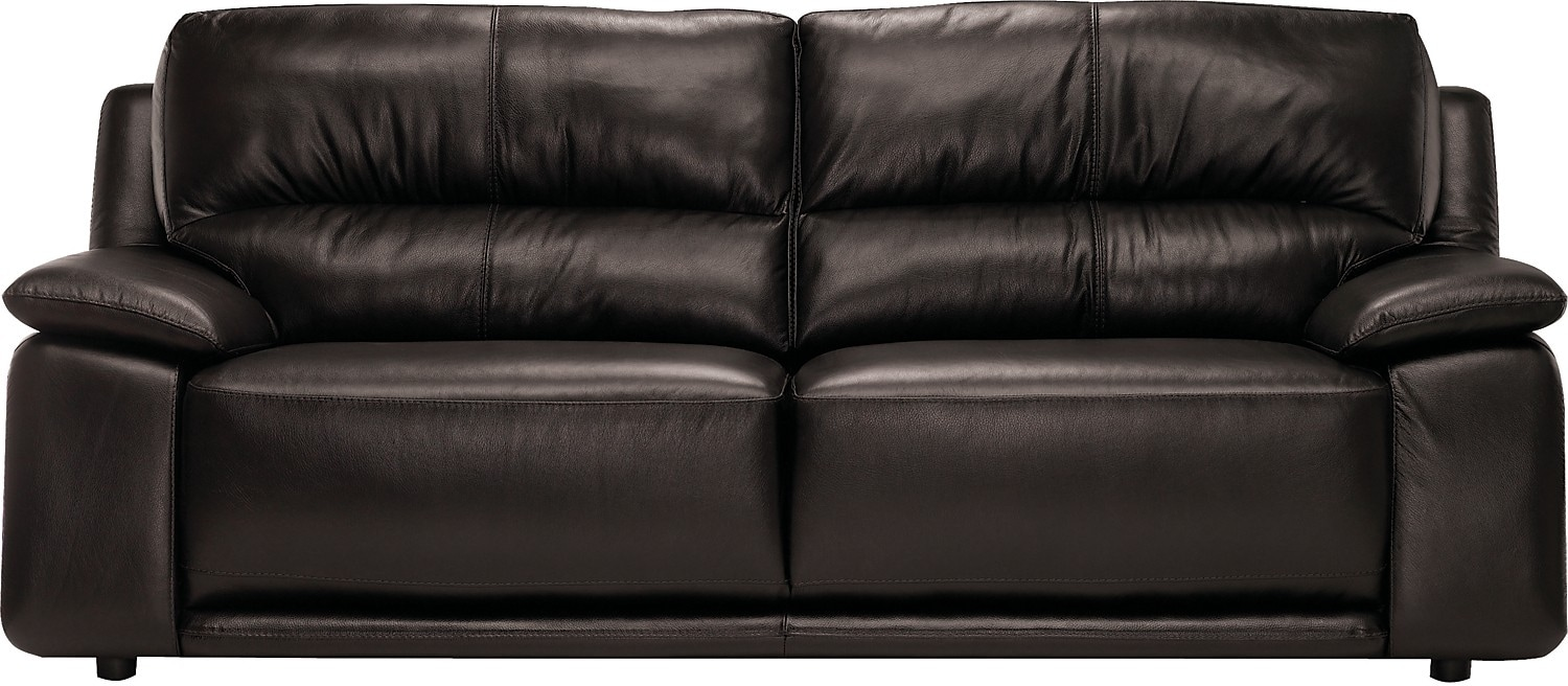 Living Room Furniture - Chateau d'Ax 100% Genuine Leather Sofa - Dark Chocolate