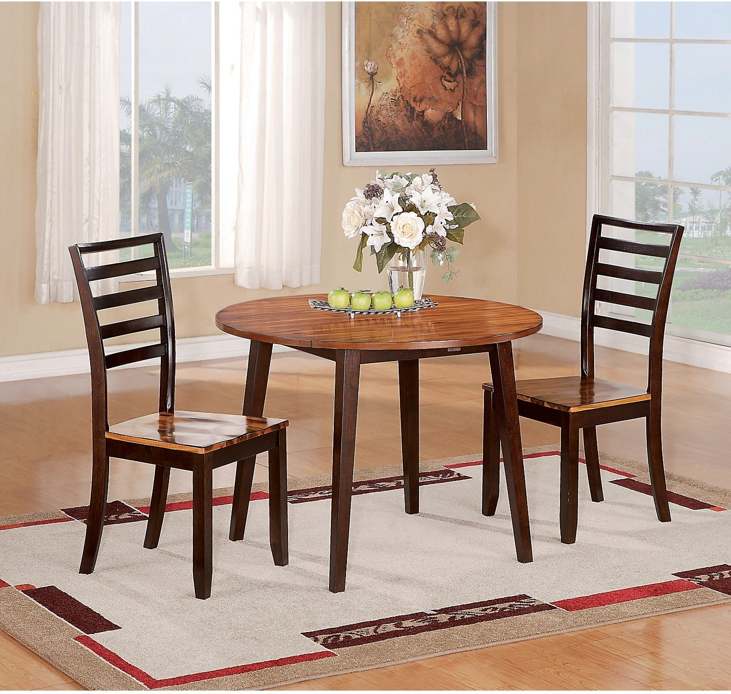 Dining Room Furniture - Zara 3-Piece Dining Package with Round Drop-Leaf Table