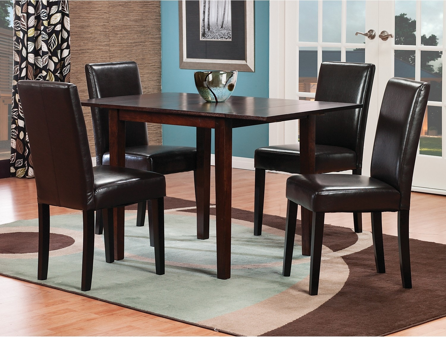 Dining Room Furniture - Dakota 5-Piece Square Table Dining Package with Brown Chairs