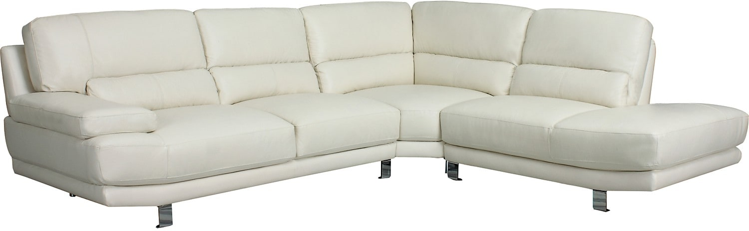 Living Room Furniture - Nico 3-Piece Genuine Leather Right-Facing Sectional – Ivory