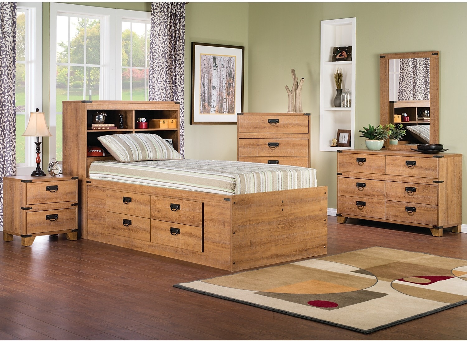 Kids Furniture - Driftwood 5-Piece Captains Bedroom Package