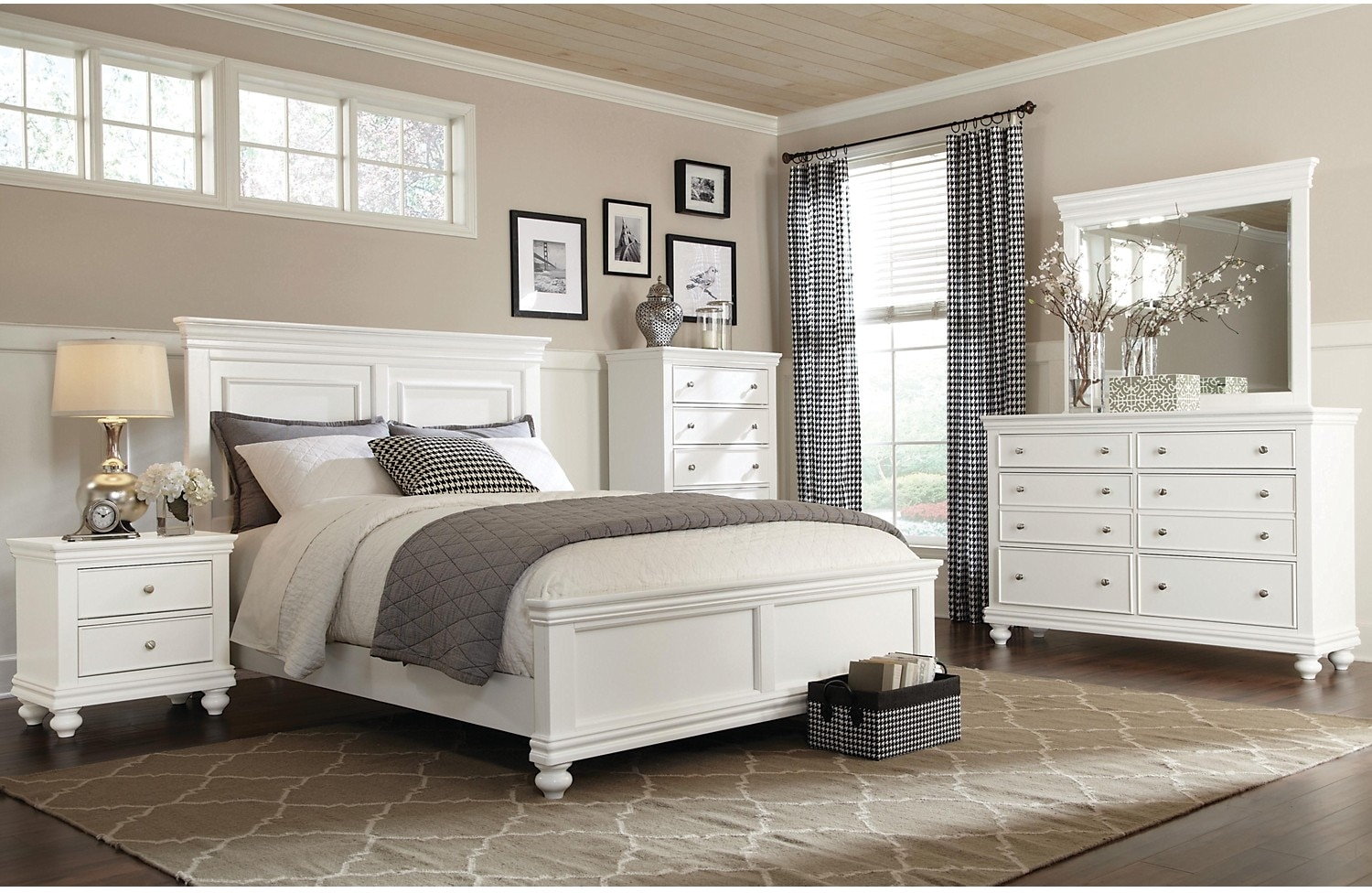 Bridgeport 6 piece queen bedroom set white the brick for Queen furniture set