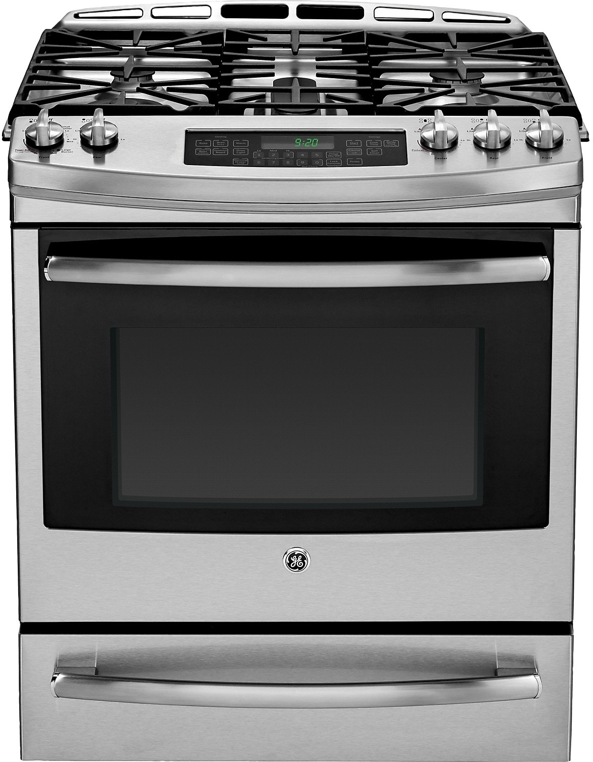"GE 30"" Slide-In Self-Cleaning Dual Fuel Convection Range – Stainless Steel"