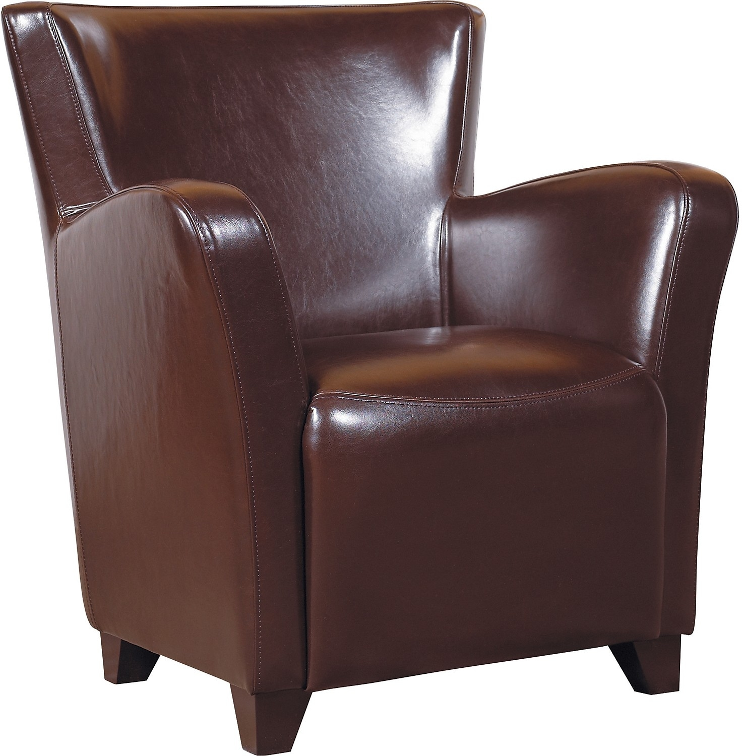 Living Room Furniture - Bonded Leather Chair - Brown