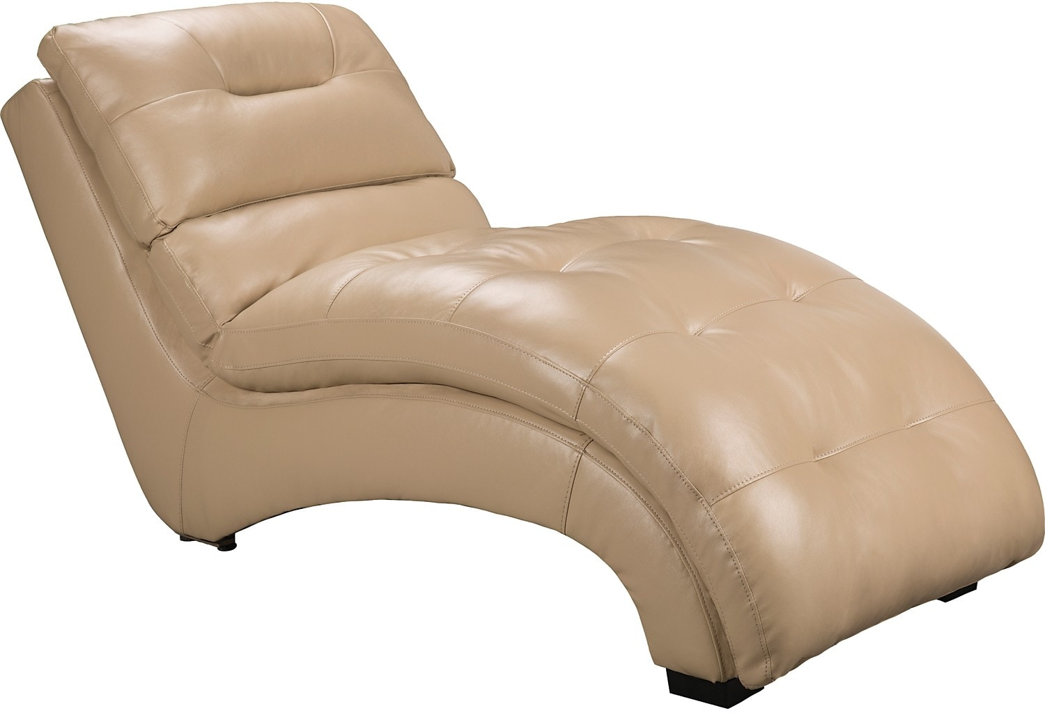 Living Room Furniture - Charlie Faux Leather Curved Chaise - Cream
