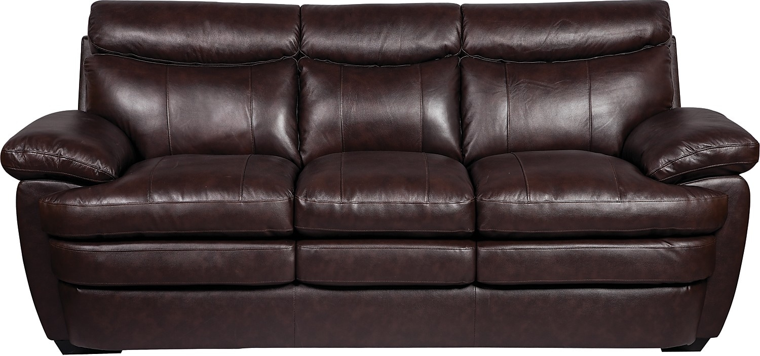 Living Room Furniture - Marty Genuine Leather Sofa - Brown