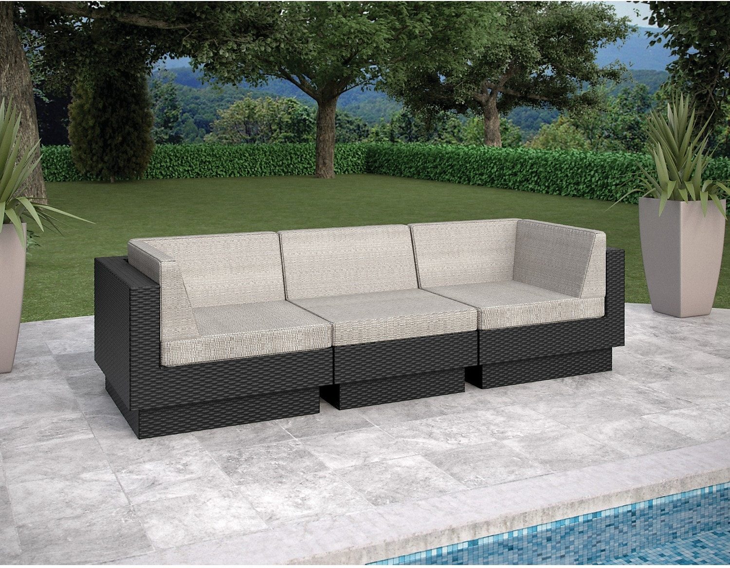 Outdoor Furniture - Parkview 3 Piece Sectional - Black