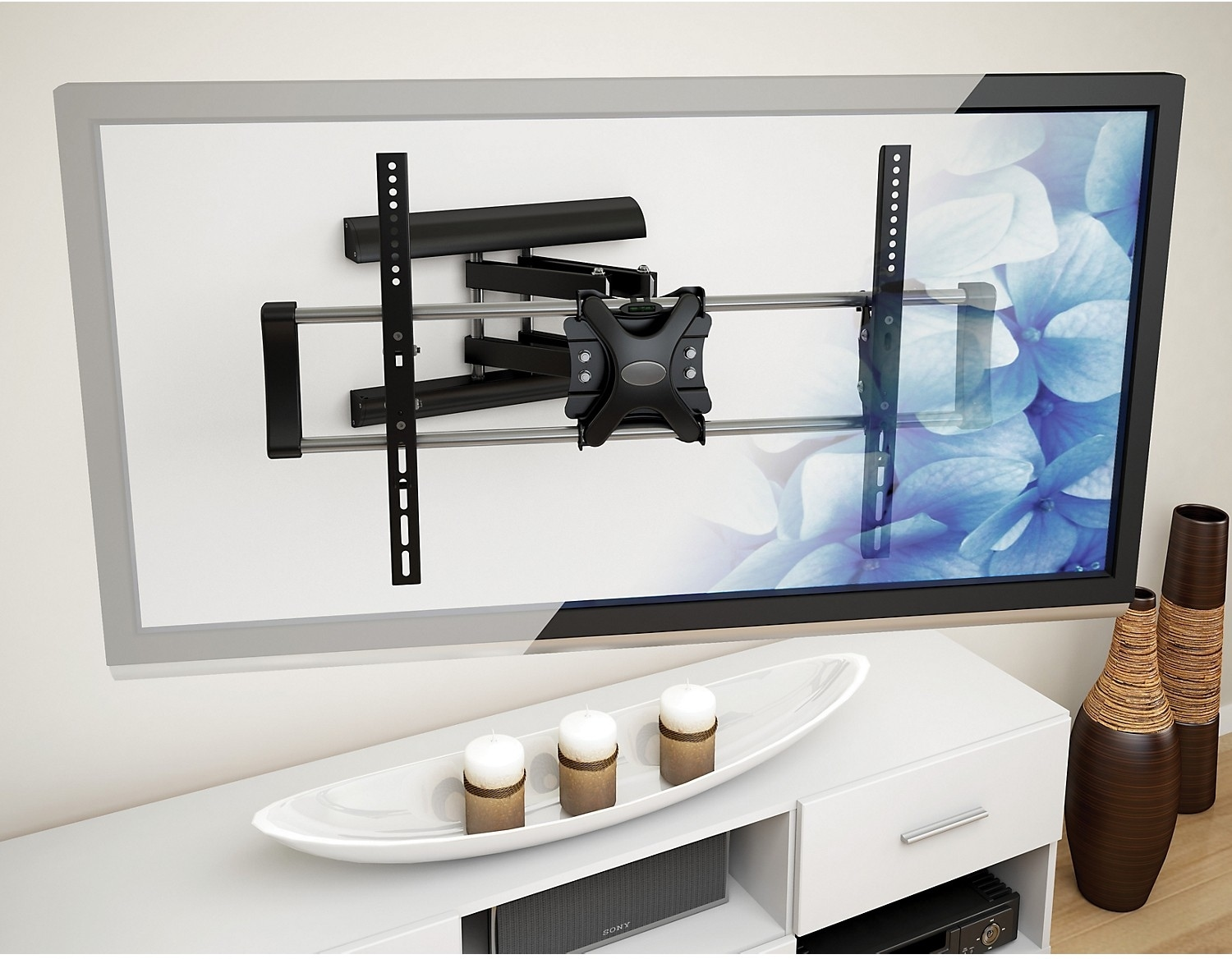 "CorLiving Adjustable 42"" - 70"" Articulating Flat Panel TV Wall Mount – Black"