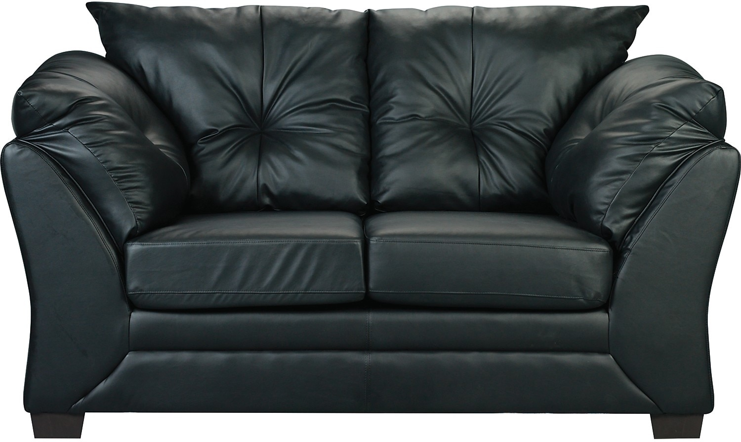 Max Faux Leather Loveseat - Black