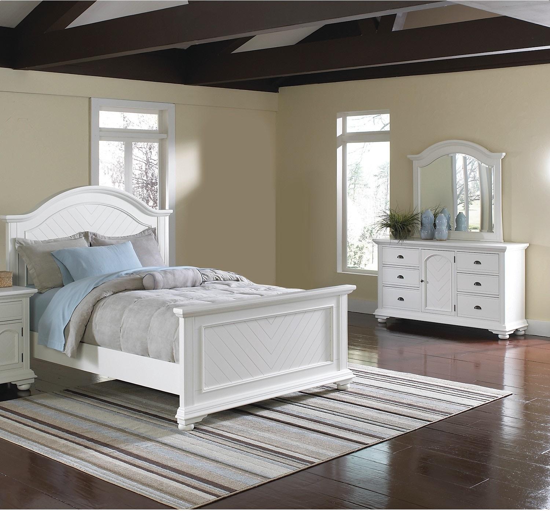 Bedroom Furniture - Brook Off-White 5-Piece King Bedroom Set
