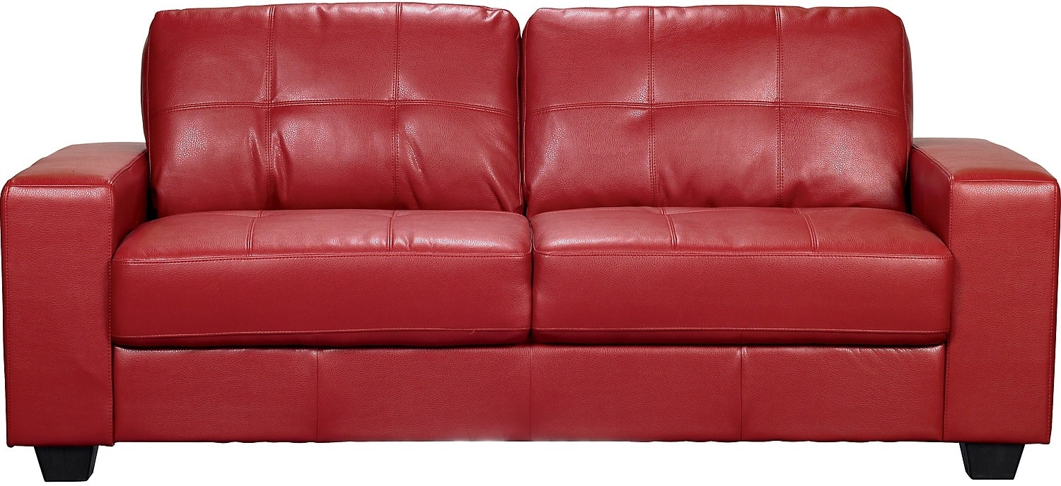 Costa Red Bonded Leather Sofa