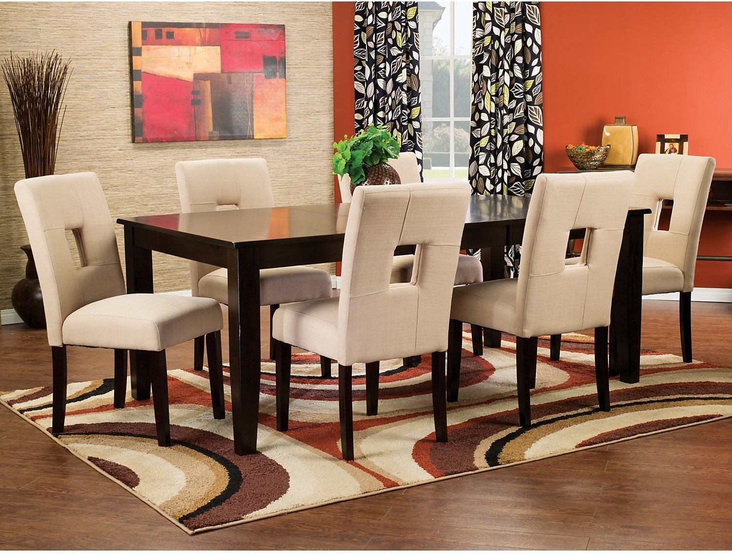 Dining Room Furniture - Dakota 7-Piece Dining Package with Beige Chairs