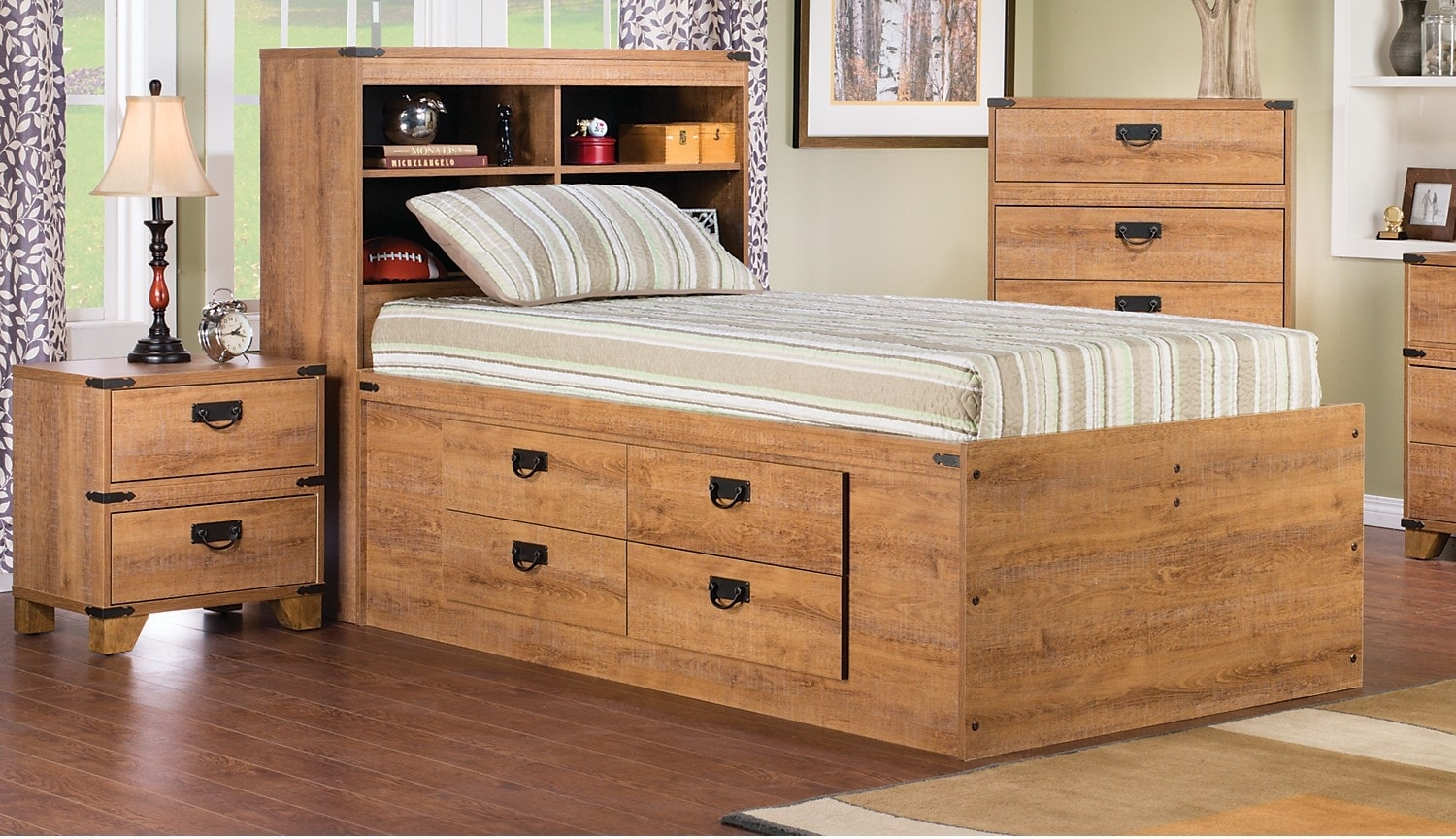Kids Furniture - Driftwood 4-Piece Captains Bedroom Package