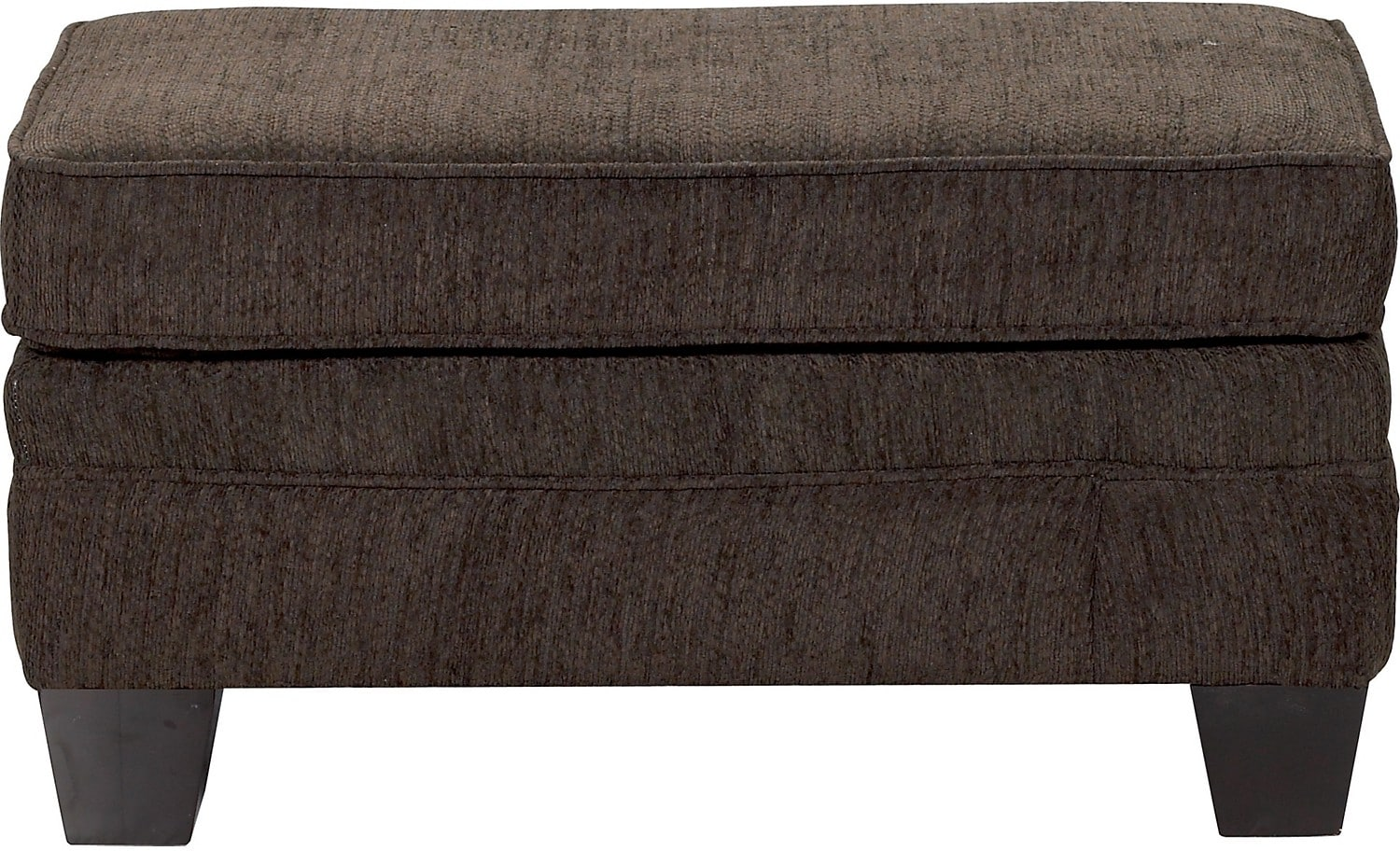 Living Room Furniture - Allen Chenille Ottoman – Chocolate