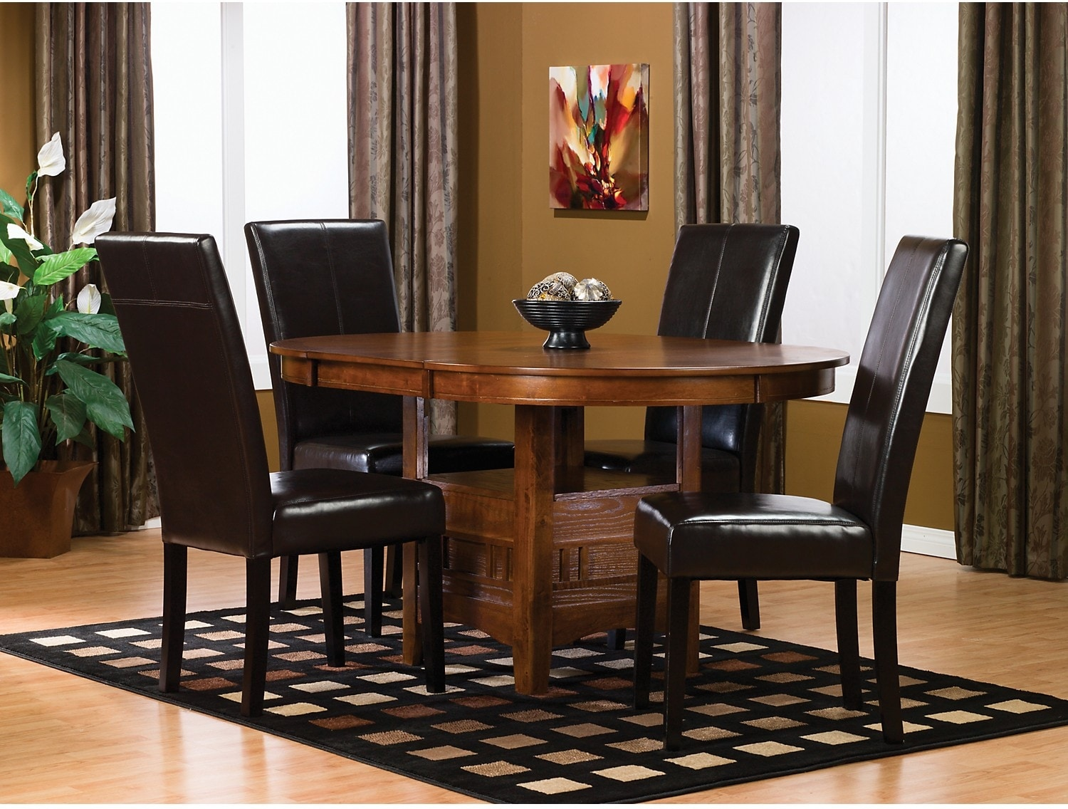 Dining Room Furniture - Dalton 5-Piece Oak Dining Package with Brown Chairs