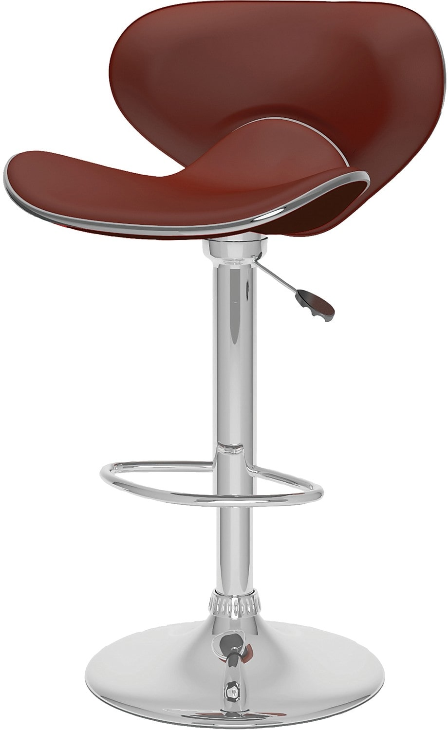 Dining Room Furniture - CorLiving Curved Form-Fitting Adjustable Bar Stool - Brown