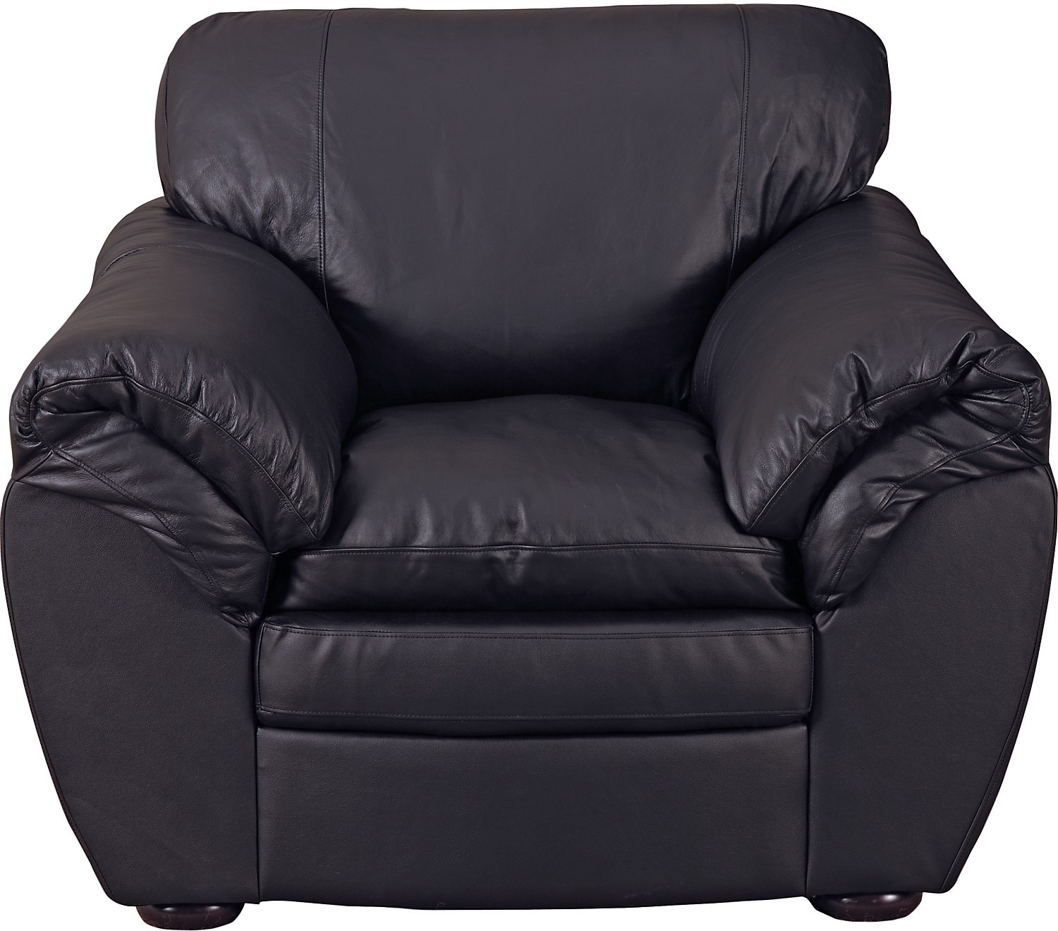 Living Room Furniture - Black 100% Genuine Leather Chair
