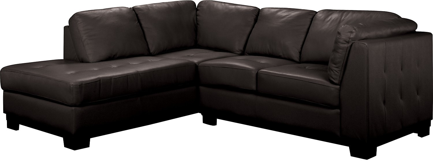 Oakdale 2-Piece Genuine Leather Sectional w/Left-Facing Chaise - Black