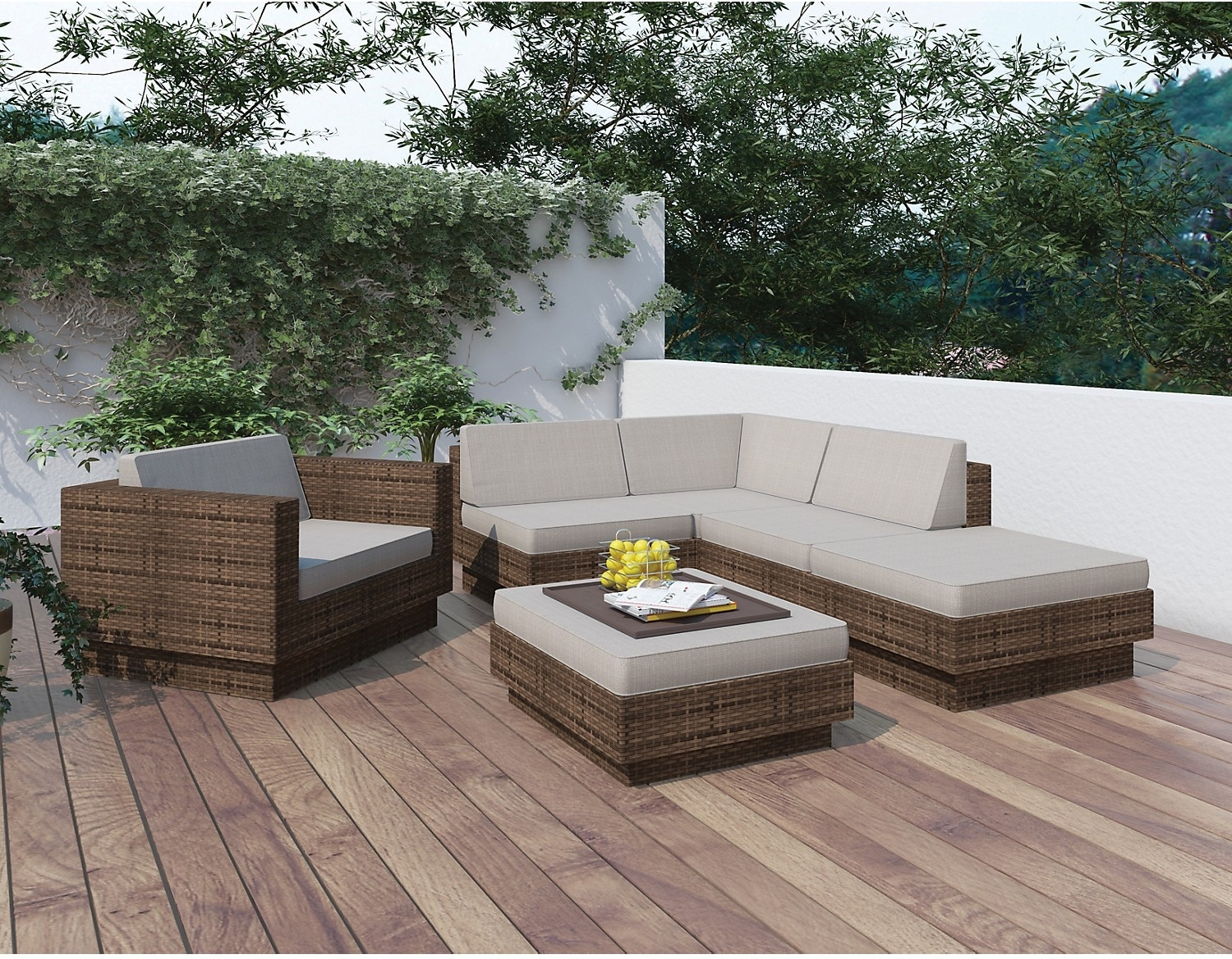 Outdoor Furniture - Park Terrace 6-Piece Patio Set – Brown, No Armrest