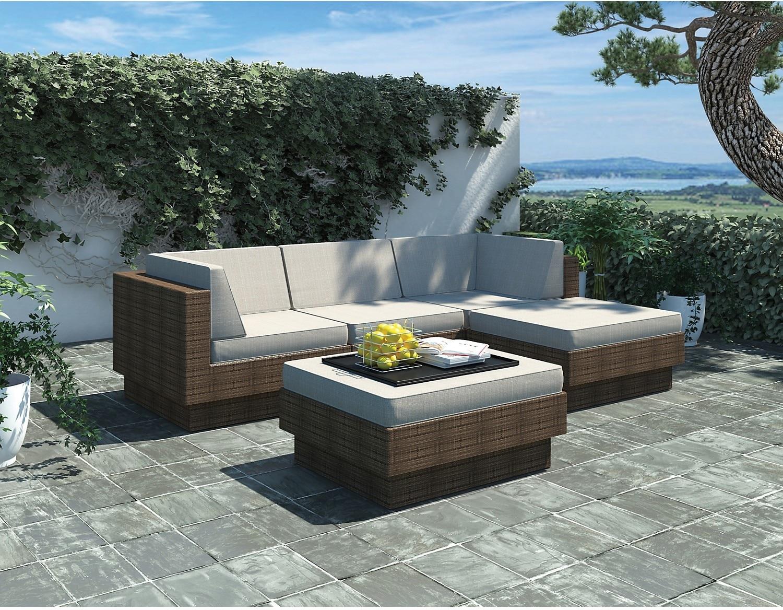 Outdoor Furniture - Park Terrace 5 Piece Patio Set – Brown