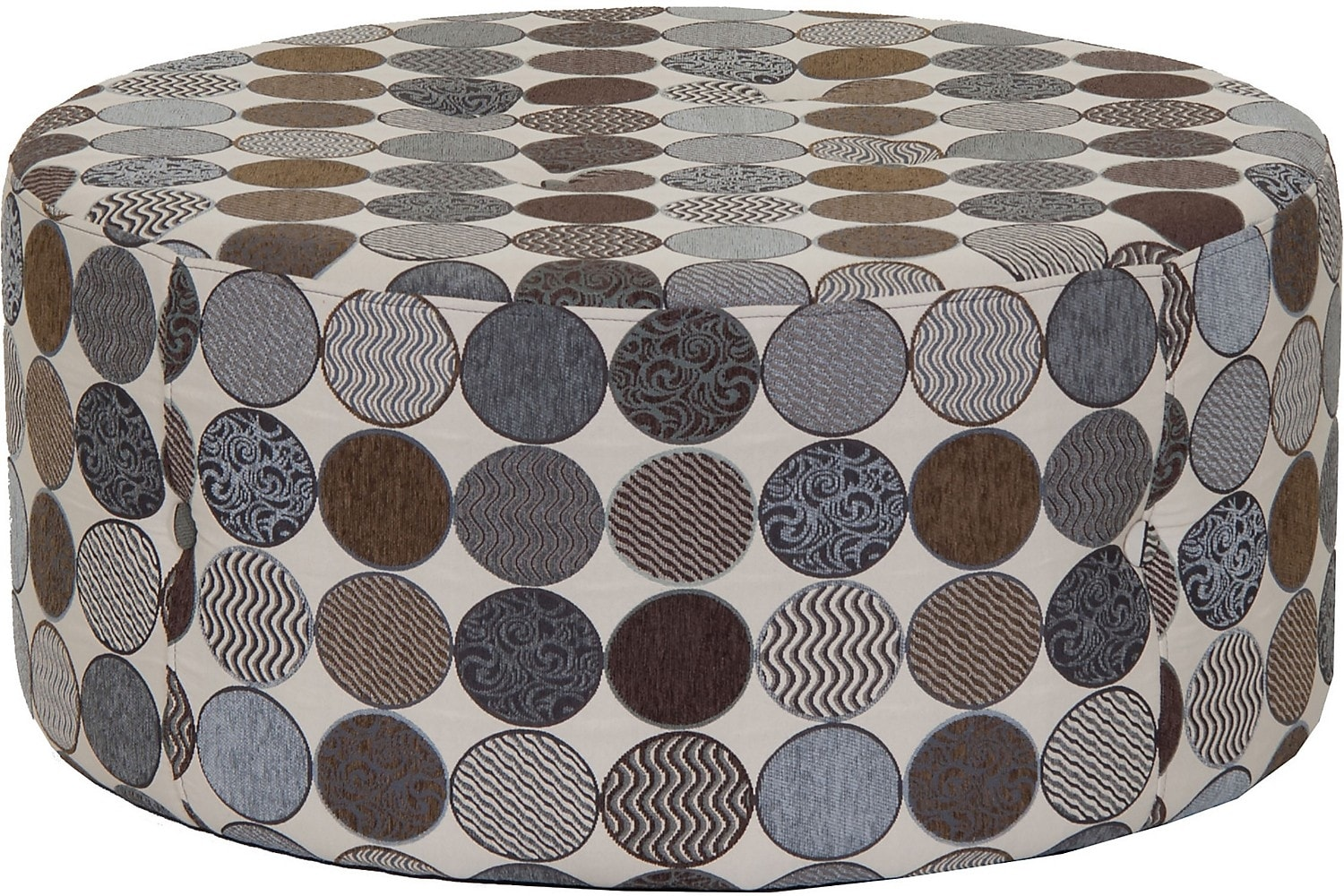 Living Room Furniture - Designed2B Fabric Round Ottoman - Spa