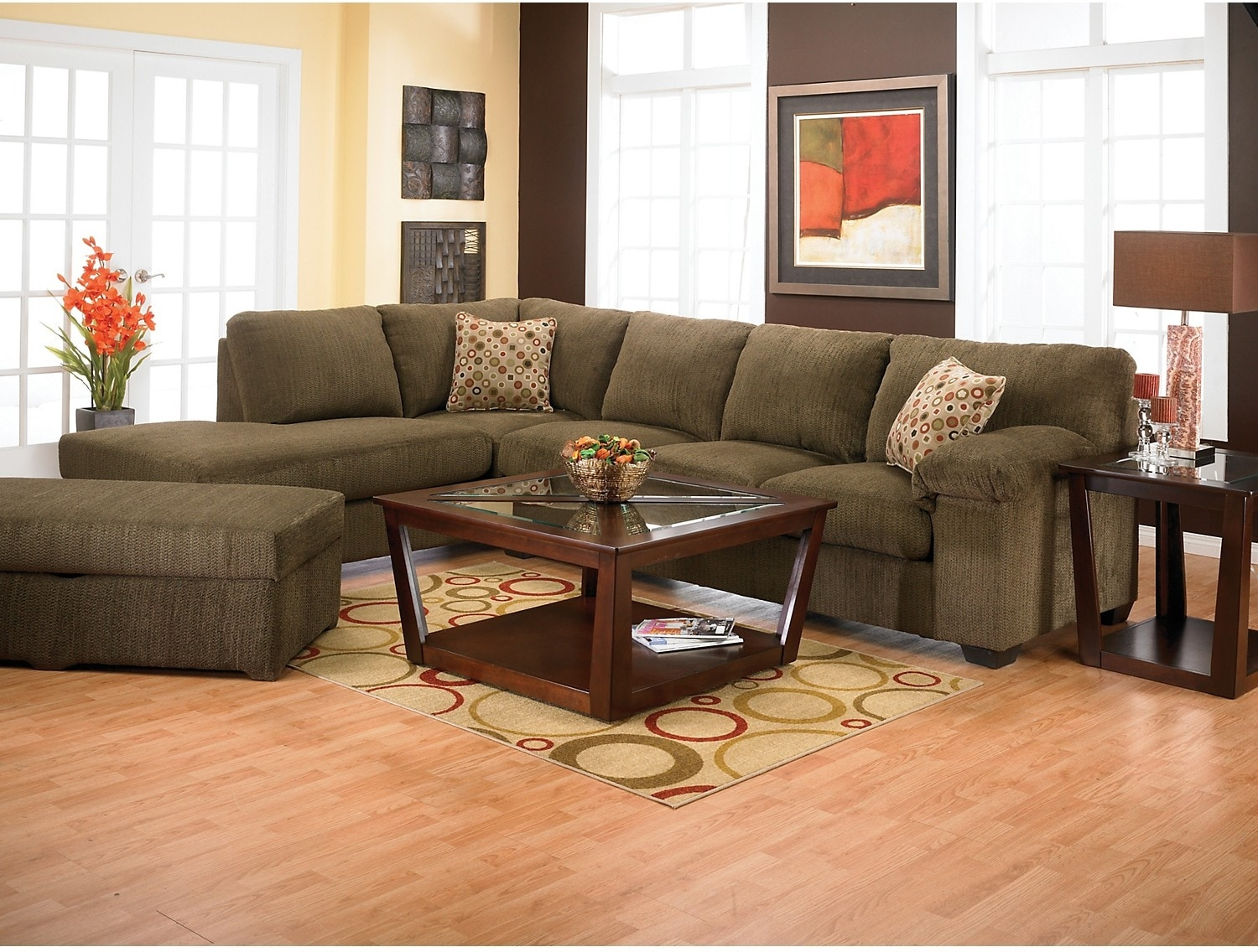 Morty chenille sectional with left chaise brown the brick for Brown sectional sofa with chaise