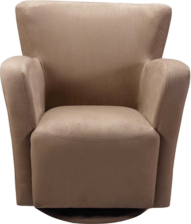 Living Room Furniture - Zello Mocha Microfibre Swivel Chair