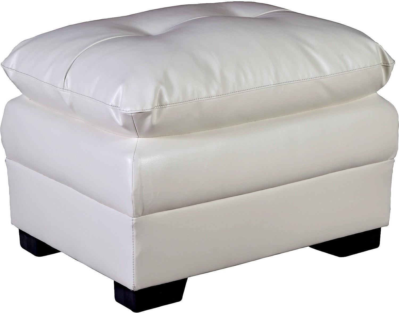 Living Room Furniture - E6 Cream Bonded Leather Ottoman