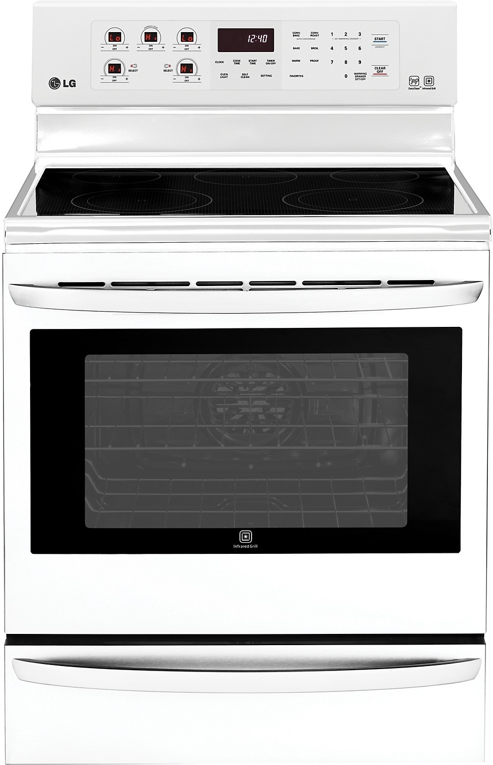 Cooking Products - LG 6.3 Cu. Ft. Freestanding Electric Range with Infrared Grill - White
