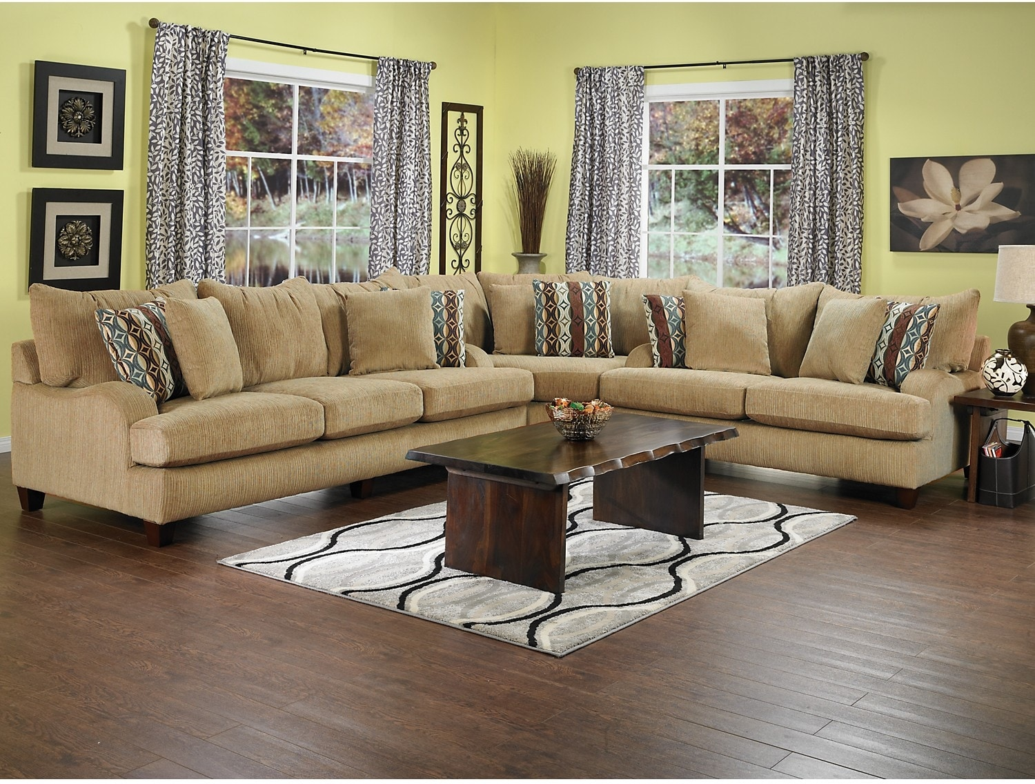 Putty chenille sectional beige the brick for Living room sectional furniture