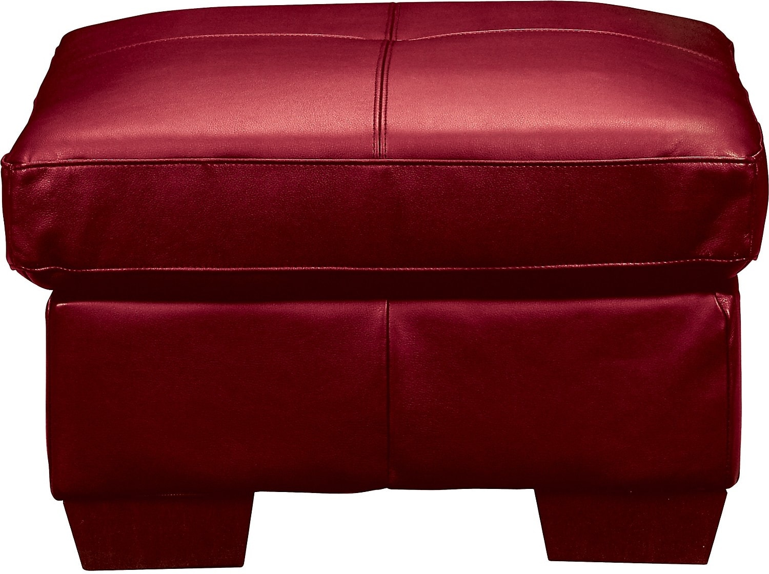 Living Room Furniture - Costa Red Bonded Leather Ottoman