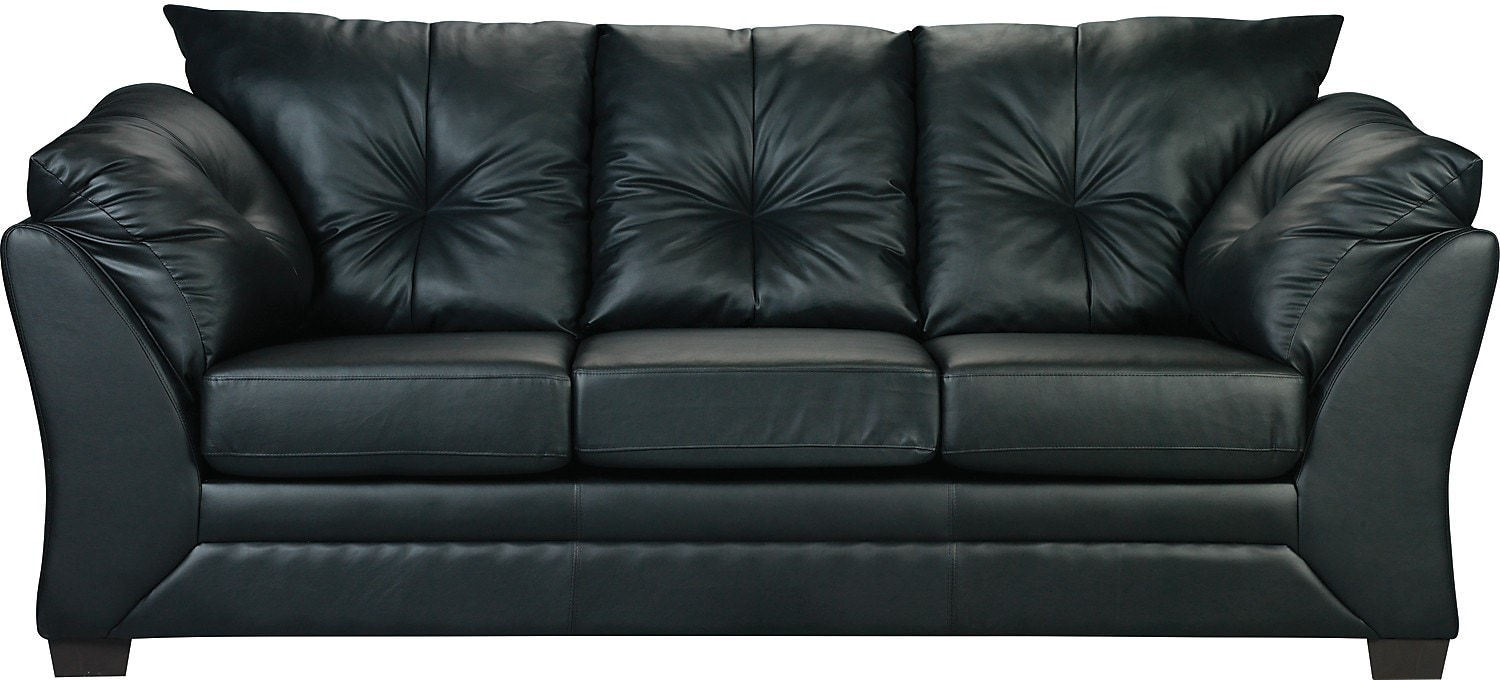 Black Faux Leather Chair: Max Faux Leather Sofa - Black