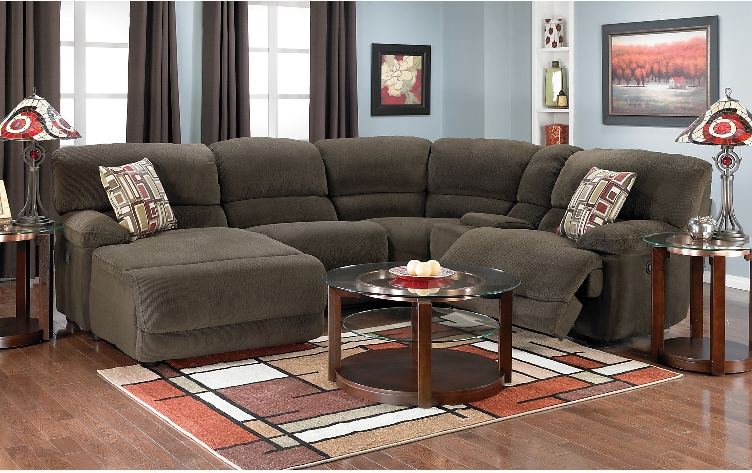 Devon 5 Piece Microsuede Sectional Brown The Brick