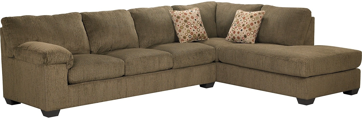 Living Room Furniture - Morty Chenille Sectional with Right Chaise - Brown