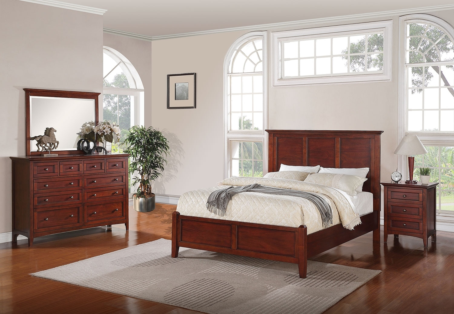 Forest lake 5 piece queen bedroom set mahogany leon 39 s for Queen furniture set