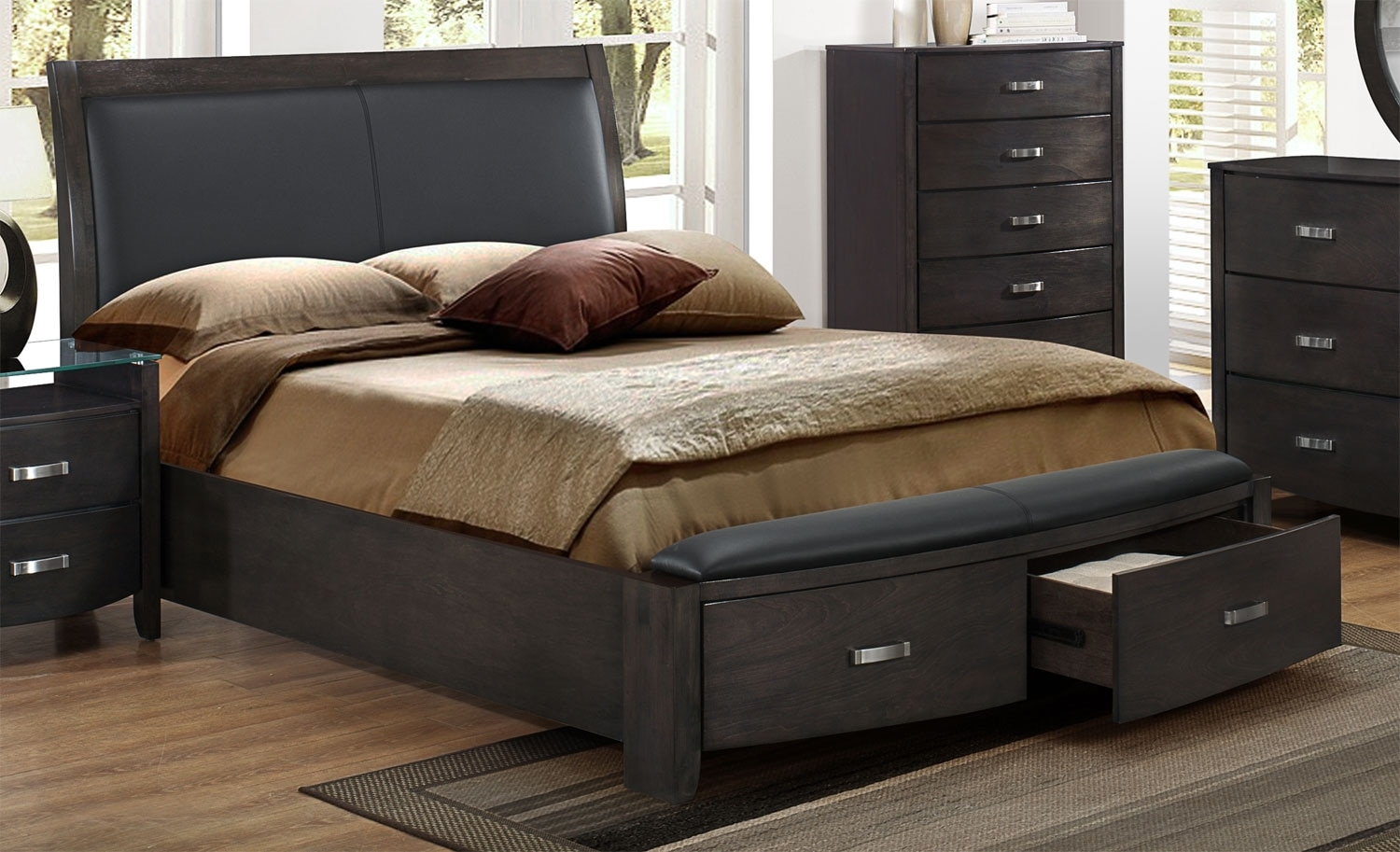 Cinema king bed charcoal leon 39 s for Furniture and beds