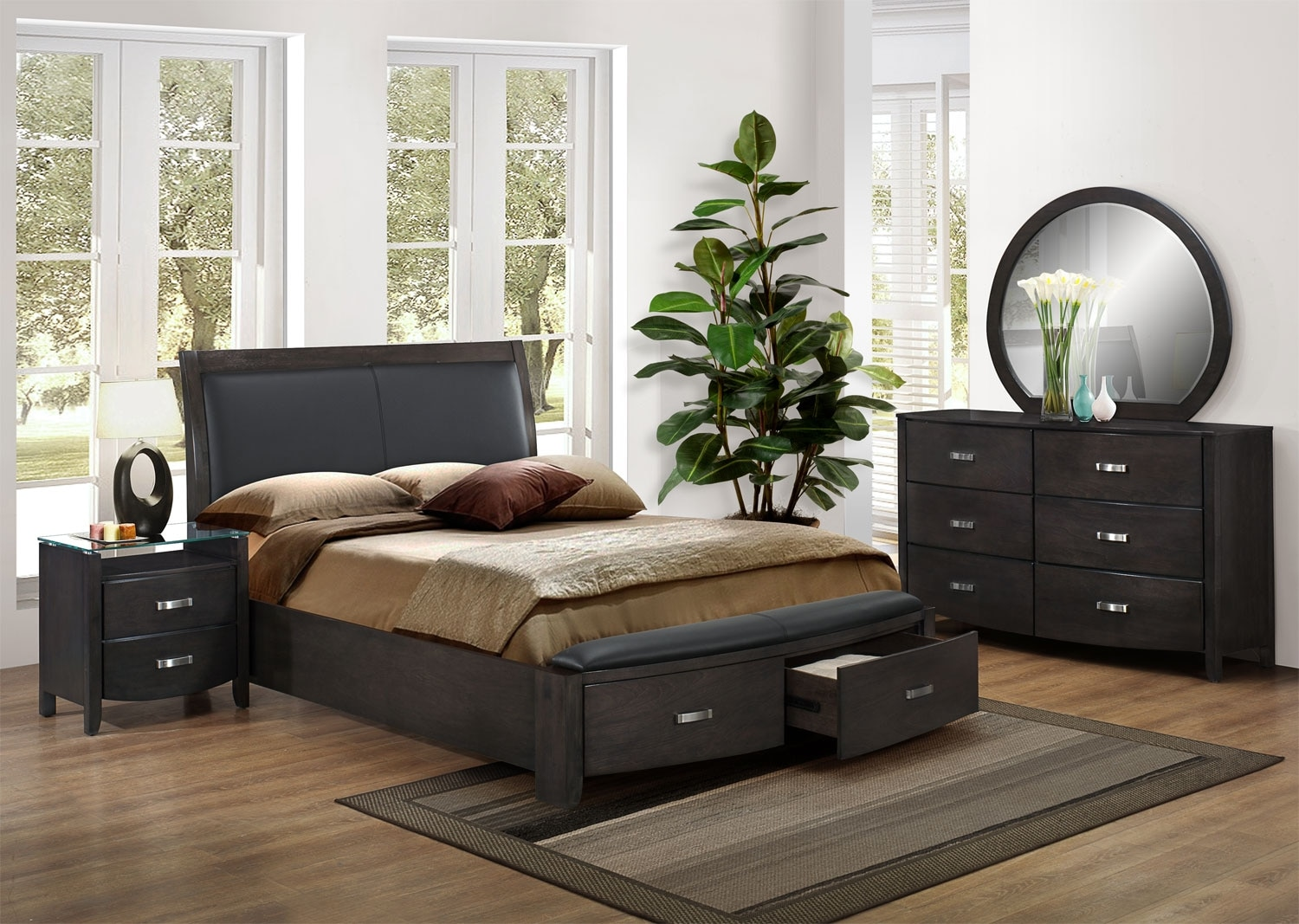 Bedroom Furniture - Cinema 5 Pc. Queen Bedroom Package - Charcoal