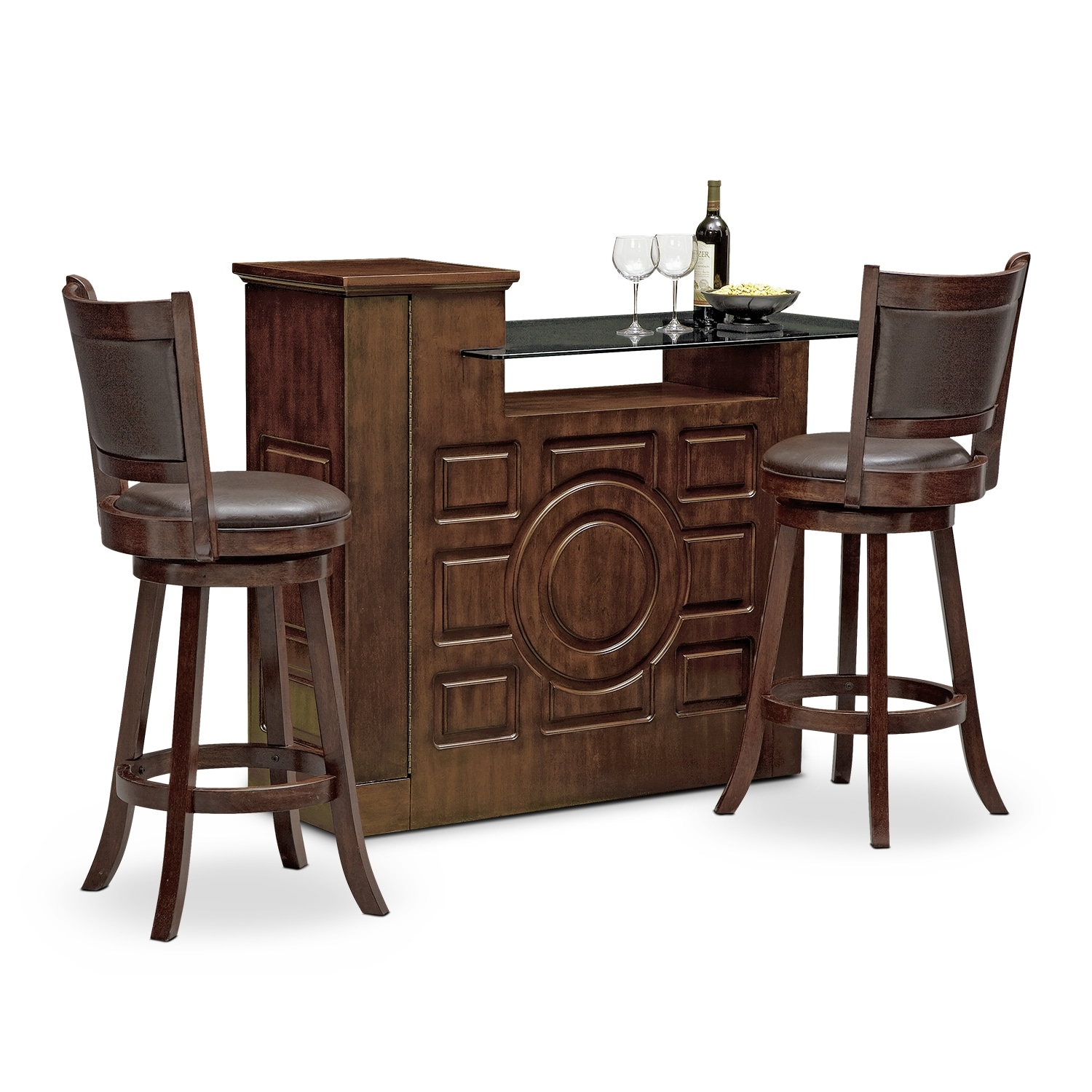 Origins everly dining room 3 pc bar set value city for 3 pc dining room set