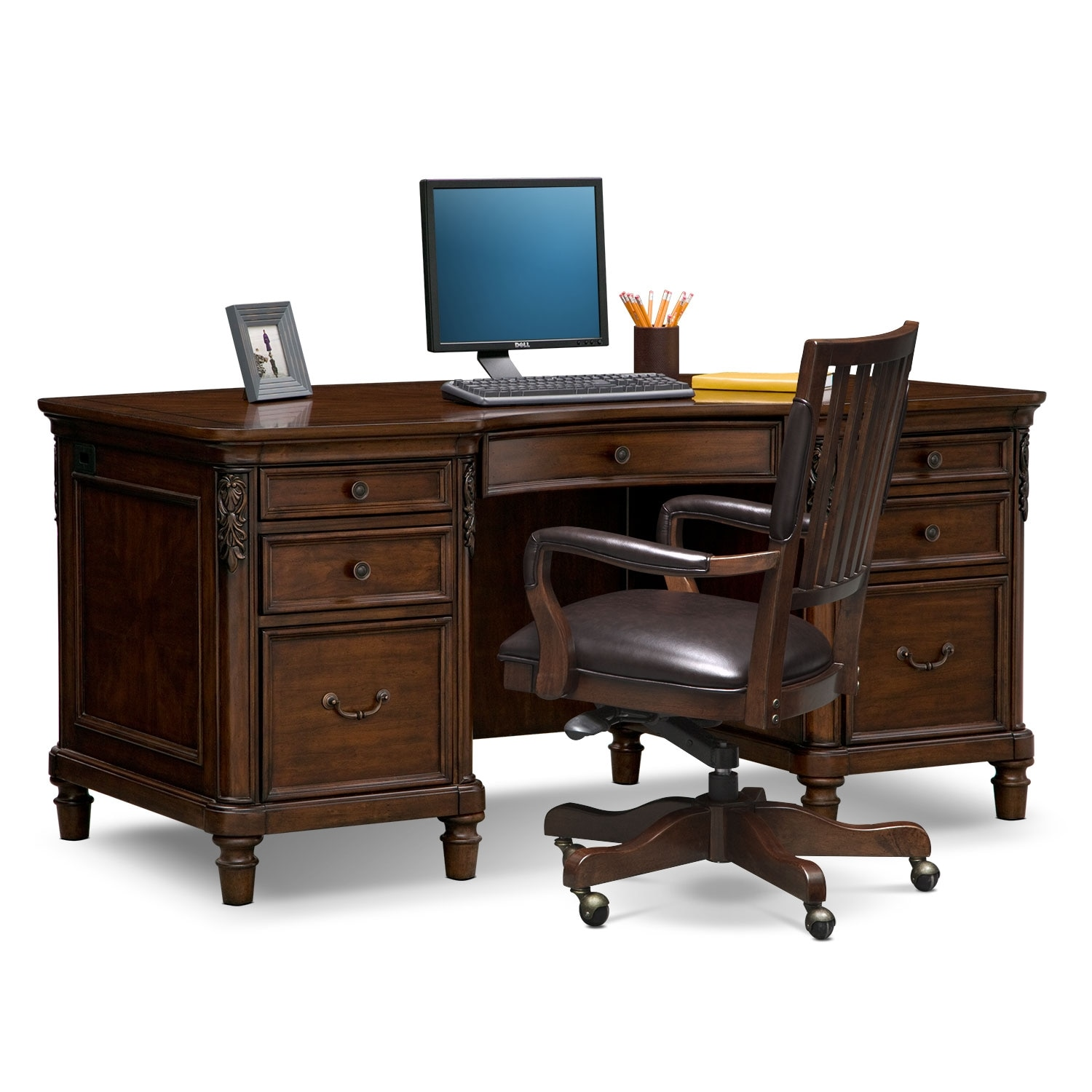 Ashland Executive Desk And Chair Set Cherry Value City Furniture