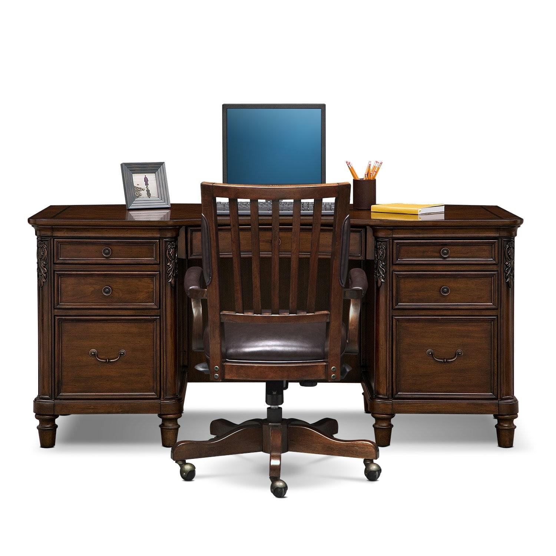 Ashland executive desk and chair set cherry value city furniture - Value city office desk ...